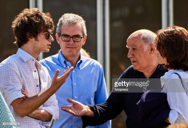 Amancio Ortega next to Pablo Isla and his son Santiago Isla attend during CSI Casas Novas Horse Jumping Competition on July 29 2017 in A Coruna Spain