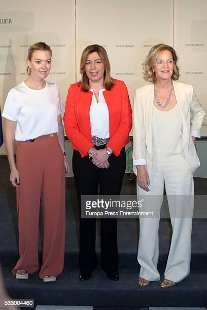 Amancio Ortega's Daughter Marta Ortega president of Andalucia Susana Diaz and Amancio Ortega's wife Flora Perez attend the delivery of 40 million of...