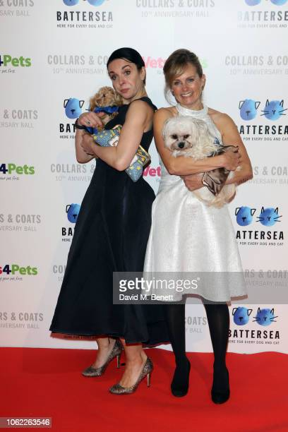 Amanda Abbington and Freya North attend the Battersea Dogs Cats Home Collars Coats Gala Ball 2018 at Battersea Evolution on November 01 2018 in...