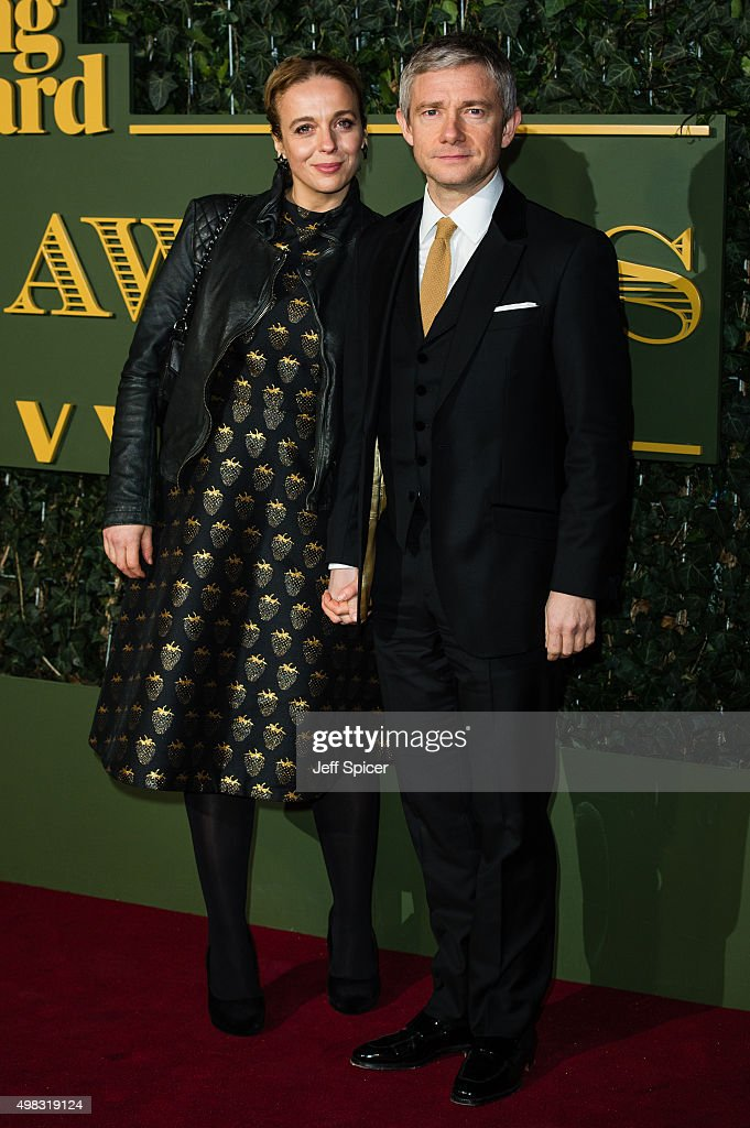 Amanda Abbington and Martin Freeman attend the Evening Standard Theatre Awards at The Old Vic Theatre on November 22, 2015 in London, England.