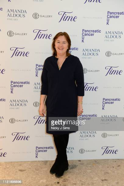 Amanda Aldous founder of Hackwood Art Festival attends TIME an exclusive charity showcase in support of Pancreatic Cancer UK at a popup gallery on...