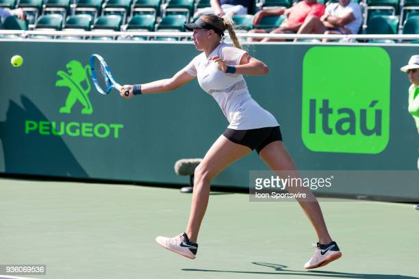 Amanda Anisimova competes during the qualifying round of the 2018 Miami Open on March 20 at Tennis Center at Crandon Park in Key Biscayne FL