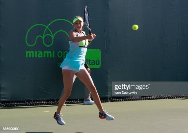 Amanda Anisimova in action during the Miami Open on March 22 at the Tennis Center at Crandon Park in Key Biscayne FL