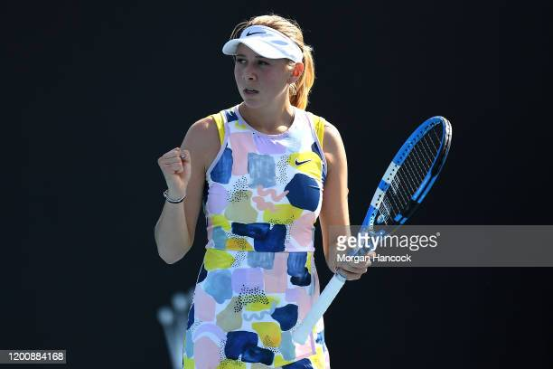 Amanda Anisimova of the United States celebrates after winning a point during her Women's Singles first round match against Zarina Diyas of...