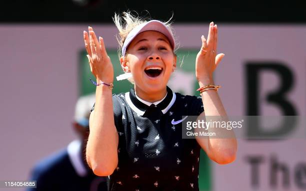Amanda Anisimova of The United States celebrates victory during her ladies singles quarterfinal match against Simona Halep of Romania during Day...