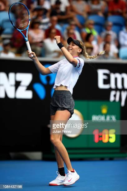 Amanda Anisimova of the United States celebrates winning match point in her third round match against Aryna Sabalenka of Belarus during day five of...