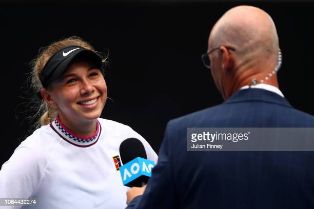 Amanda Anisimova of the United States celebrates winning match point in her third round match against Aryna Sabalenka of Belarus during day five of...