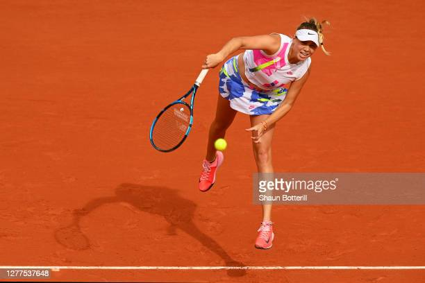 Amanda Anisimova of The United States of America serves during her Women's Singles second round match against Bernarda Pera of The United States of...