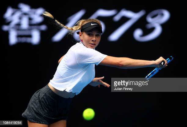 Amanda Anisimova of the United States plays a backhand in her third round match against Aryna Sabalenka of Belarus during day five of the 2019...