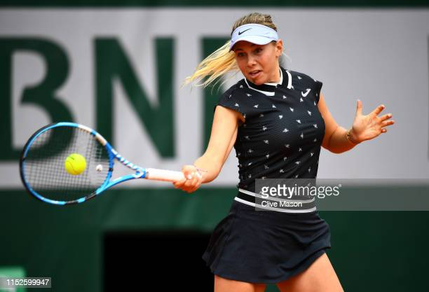 Amanda Anisimova of The United States plays a forehand during her ladies singles second round match against Aryna Sabalenka of Belarus during Day...