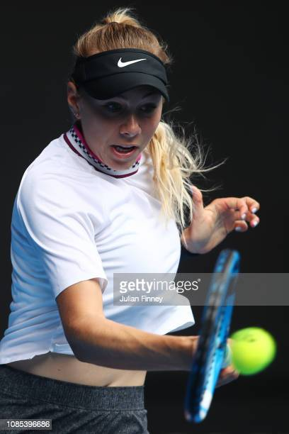 Amanda Anisimova of the United States plays a forehand in her fourth round match against Petra Kvitova of Czech Republic during day seven of the 2019...