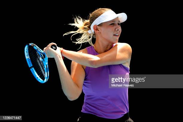 Amanda Anisimova of the United States returns a shot to Alison Riske of the United States during the UTR Pro Match Series Day 1 on May 22, 2020 in...
