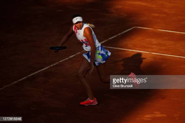 Amanda Anisimova of The United States runs to play a shot in her round two match against Dayana Yastremska of Ukraine during day three of the...