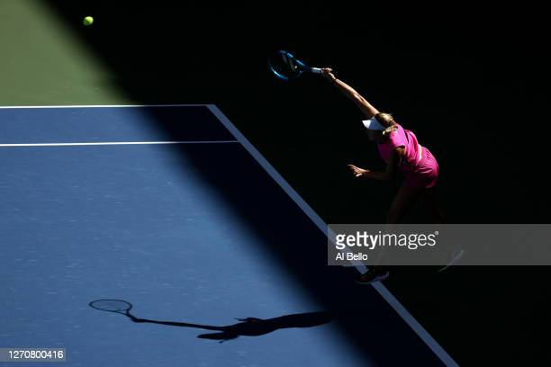 Amanda Anisimova of the United States serves during her Women's Singles third round match against Maria Sakkari of Greece on Day Six of the 2020 US...