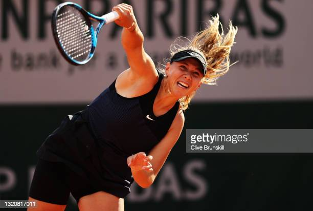 Amanda Anisimova of The United States serves in her First Round match against Veronika Kudermetova of Russia during Day One of the 2021 French Open...