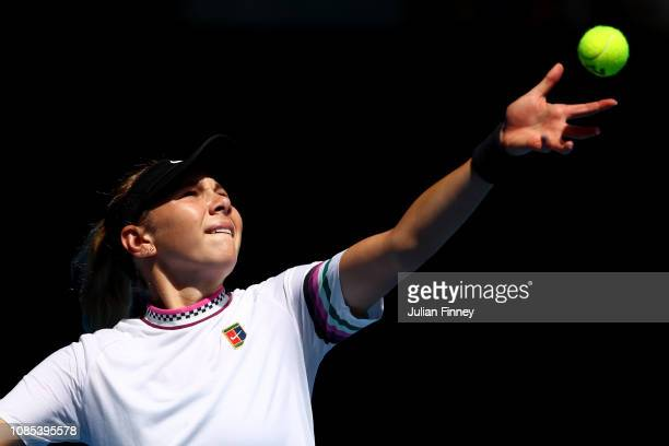 Amanda Anisimova of the United States serves in her fourth round match against Petra Kvitova of Czech Republic during day seven of the 2019...