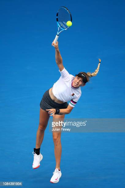 Amanda Anisimova of the United States serves in her third round match against Aryna Sabalenka of Belarus during day five of the 2019 Australian Open...