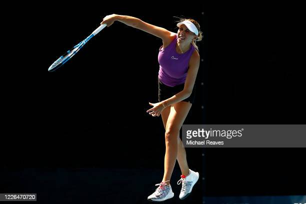Amanda Anisimova of the United States serves to Alison Riske of the United States during the UTR Pro Match Series Day 1 on May 22, 2020 in West Palm...
