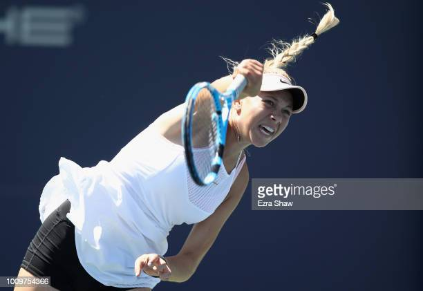 Amanda Anisimova of the United States serves to Mihaela Buzarnescu of Romania during Day 4 of the Mubadala Silicon Valley Classic at Spartan Tennis...