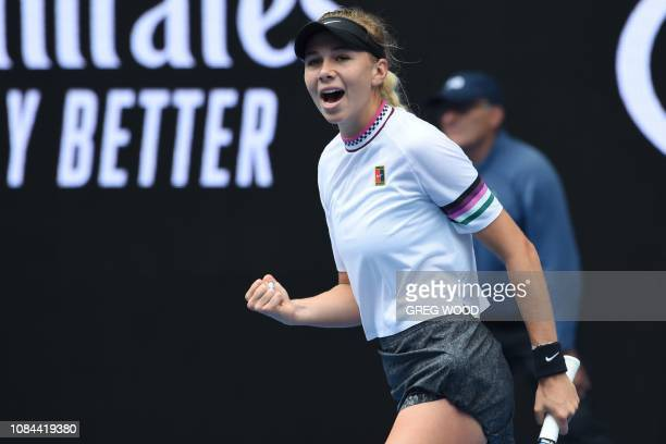 Amanda Anisimova of the US reacts after a point against Belarus' Aryna Sabalenka during their women's singles match on day five of the Australian...