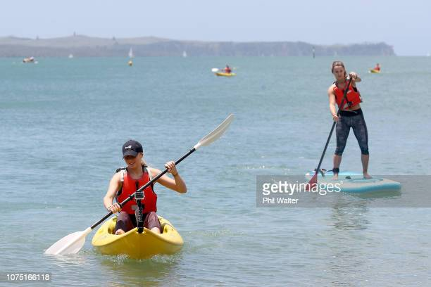Amanda Anisimova of the USA and Lauren Davis of the USA kayak at Mission Bay ahead of the 2019 ASB Classic on December 27 2018 in Auckland New Zealand