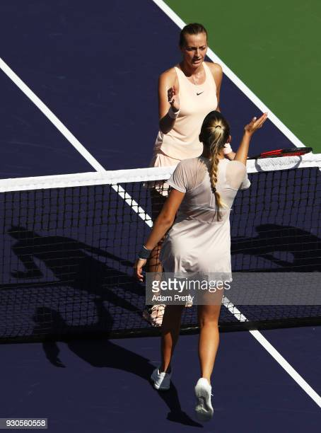 Amanda Anisimova of the USA is congratulated by Petra Kvitova of the Czech Republic after her match during the BNP Paribas Open at the Indian Wells...