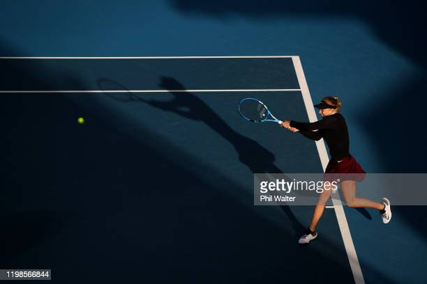 Amanda Anisimova of the USA plays a backhand during her quarterfinal match against Eugenie Bouchard of Canada during day five of the 2020 Women's ASB...
