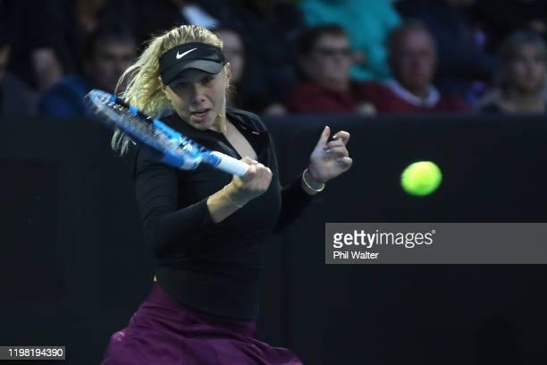 Amanda Anisimova of the USA plays a forehand during her match against Daria Kasatkina of Russia during day three of the 2020 Women's ASB Classic at...