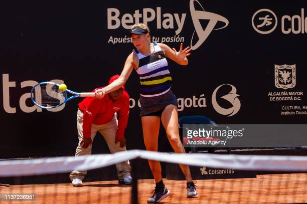 Amanda Anisimova of USA in action against Astra Sharma of Australia during the final of the Claro Open Colsanitas Women's Tennis Association tennis...