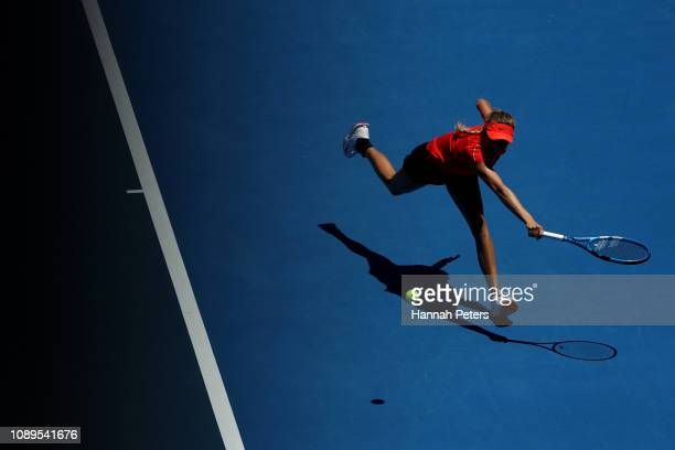 Amanda Anisimova of USA plays a backhand during her quarter final match against Viktoria Kuzmova of Slovakia at the ASB Classic on January 04 2019 in...