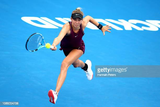 Amanda Anisimova of USA plays a forehand during her round of 16 match against Barbora Strycova of Czech Republic at the ASB Classic on January 03...