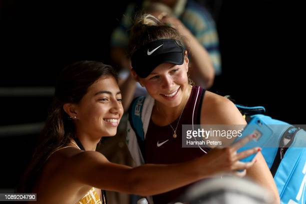Amanda Anisimova of USA poses with fans after winning her round of 16 match against Barbora Strycova of Czech Republic at the ASB Classic on January...