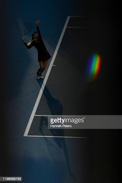 Amanda Anisimova of USA serves in her quarter final match against Eugenie Bouchard of Canada during day five of the 2020 Women's ASB Classic at ASB...