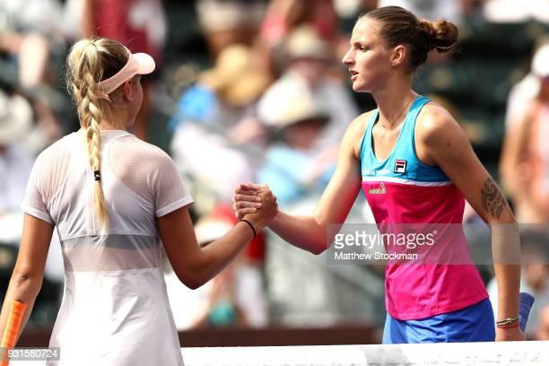 Amanda Anisimova rcongratulates Karolina Pliskova of Czech Republic after their match during the BNP Paribas Open at the Indian Wells Tennis Garden...