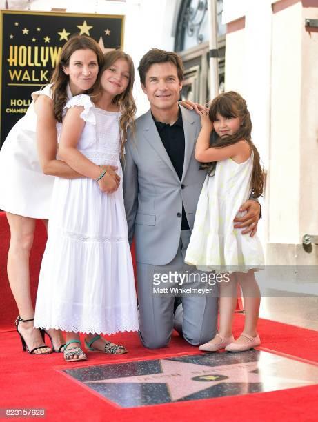 Amanda Anka Francesca Bateman Jason Bateman and Maple Bateman attend The Hollywood Walk of Fame Star Ceremony honoring Jason Bateman on July 26 2017...