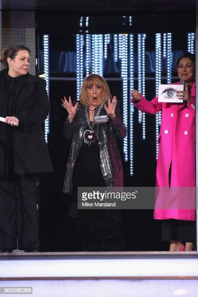 Amanda Barrie and Host Emma Willis attend the launch night of Celebrity Big Brother at Elstree Studios on January 2 2018 in Borehamwood England