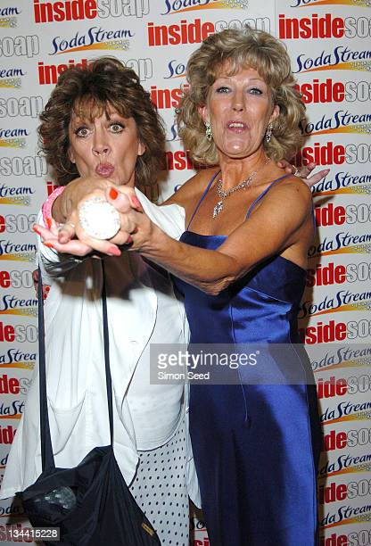 Amanda Barrie and Sue Nichols during 2004 Inside Soap Awards Press Room at La Rascasse Cafe Grand Prix in London Great Britain