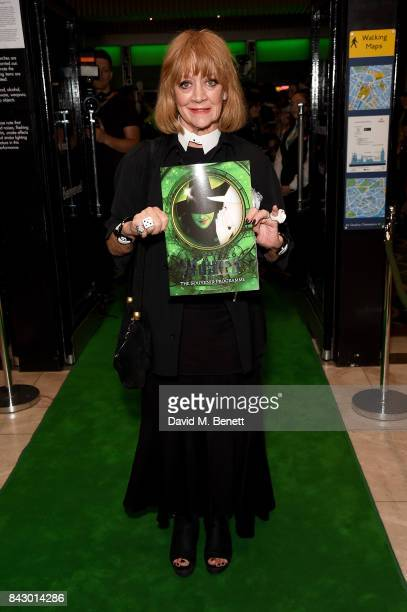 Amanda Barrie arrives at the performance of hit musical Wicked celebrating its new cast ahead of its 11th birthday at Apollo Victoria Theatre on...