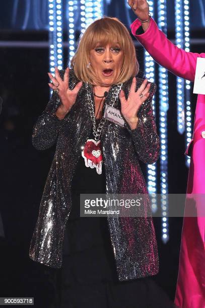 Amanda Barrie attends the launch night of Celebrity Big Brother at Elstree Studios on January 2 2018 in Borehamwood England