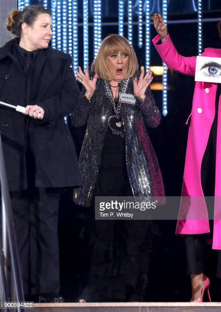 Amanda Barrie enters the 'Celebrity Big Brother' House at Elstree Studios on January 2 2018 in Borehamwood England
