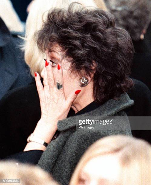Amanda Barrie wipes away a tear at the end of the funeral service for Coronation Street star Jill Summers todasy See PA story SHOWBIZ Funeral Photo...