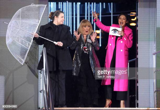 Amanda Barrie with host Emma Willis as she enters the 'Celebrity Big Brother' House at Elstree Studios on January 2 2018 in Borehamwood England