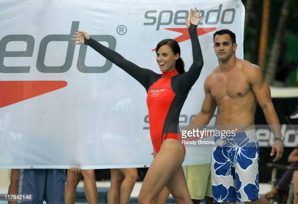Amanda Beard and dancer wearing Speedo during Sunglass Hut Swim Shows Miami Presented by LYCRA Speedo Presentation at Raleigh Hotel in Miami Beach...