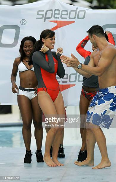 Amanda Beard and dancers wearing Speedo during Sunglass Hut Swim Shows Miami Presented by LYCRA Speedo Presentation at Raleigh Hotel in Miami Beach...