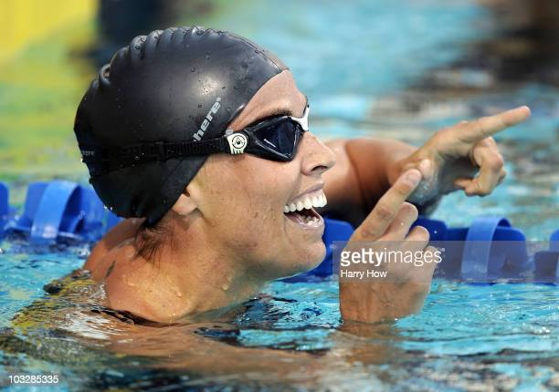 Amanda Beard celebrates a second place finish in the Women 200 LC Breaststroke Final during the 2010 ConocoPhillips National Championships at the...