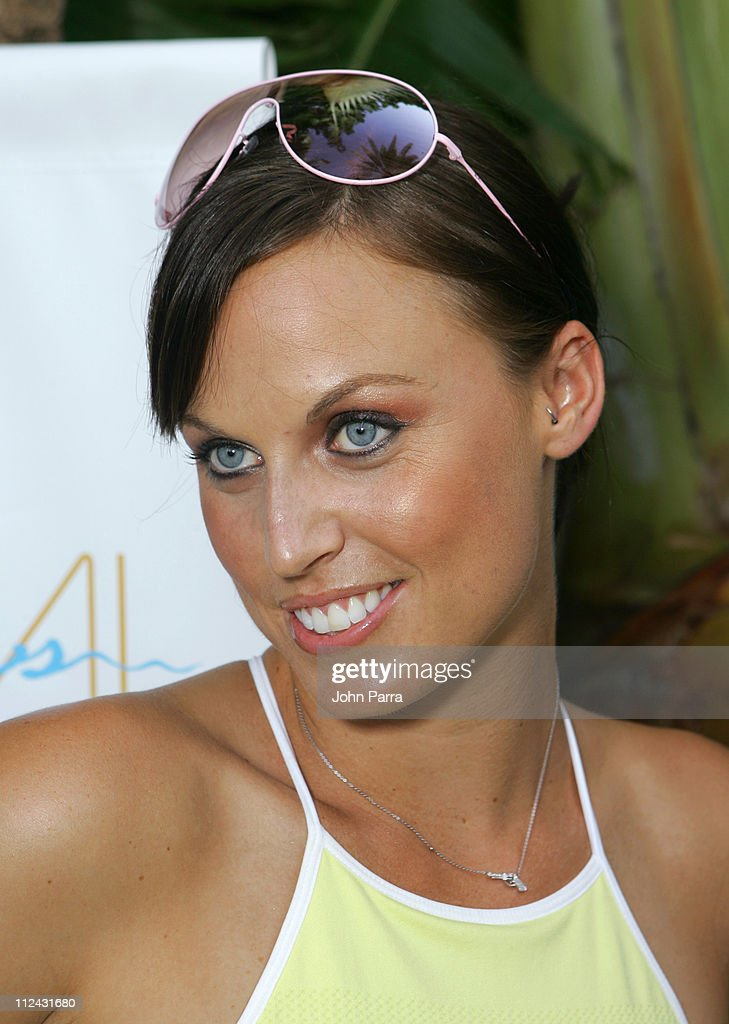 Amanda Beard in Ray Ban sunglasses during Sunglass Hut Swim Shows Miami Presented by LYCRA - Welcome Reception at Raleigh Hotel in Miami Beach, Florida, United States.
