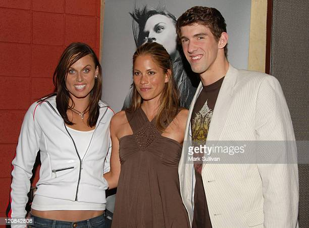 Amanda Beard Maxine Bahns and Michael Phelps during New Speedo Axcelerate Collection Launch Party at Cabana Club in Hollywood California United States