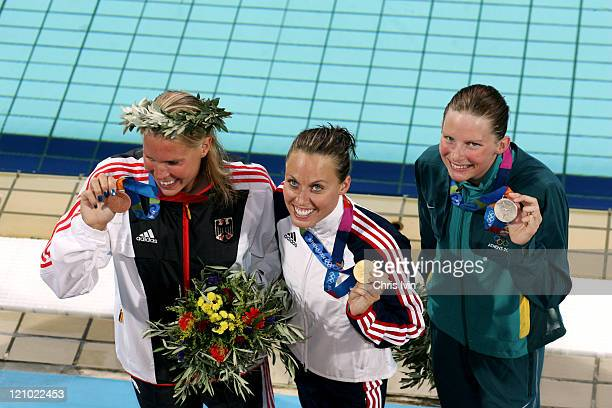 Amanda Beard of United States of America celebrates her victory in 200m Breaststroke final during Athens 2004 Olympic Games in Athens Greece on...