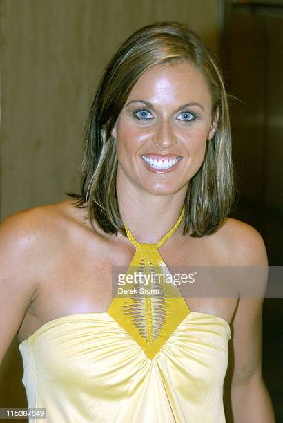 Amanda Beard Olympic Gold Medalist for swimming during Amanda Beard Visits 'The Howard Stern Show' September 9 2004 in New York City New York United...