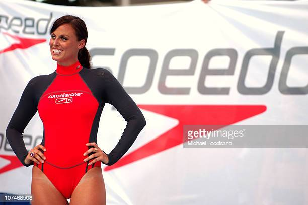 Amanda Beard wearing Speedo during Sunglass Hut Swim Shows Miami Presented by LYCRA Speedo Presentation at Raleigh Hotel in Miami Beach Florida...